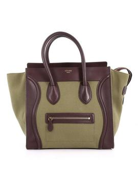 Luggage Handbag Mini Green And Brown Canvas Leather Tote by Céline