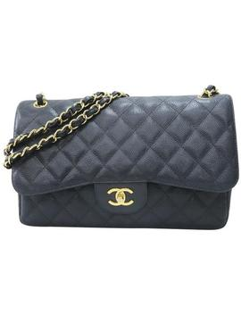 Caviarjumbo Classic Double Flap Black Leather Shoulder Bag by Chanel