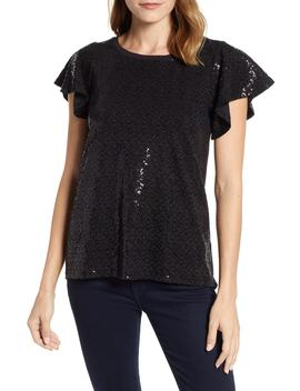 X Glam Squad Sequin Flutter Sleeve Top by Gibson