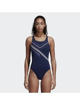 Placed Print Swimsuit by Adidas