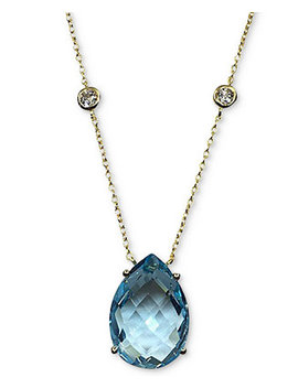 """Blue Topaz (13 Ct. T.W.) & White Topaz (5/8 Ct. T.W.) Pendant Necklace In 14k Gold Plated Sterling Silver, 16"""" + 2"""" Extender by Macy's"""