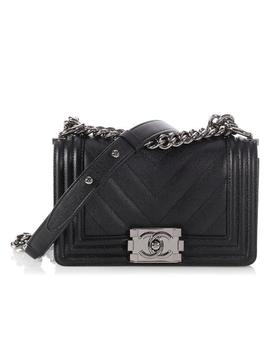 Boy Small Chevron Quilted Caviar Black Leather Cross Body Bag by Chanel