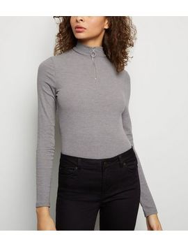 Tall Dark Grey Ribbed Long Sleeve Top by New Look