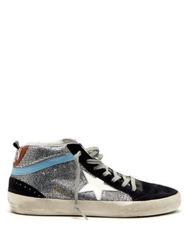 Midstar Glitter And Suede Trainers by Golden Goose Deluxe Brand