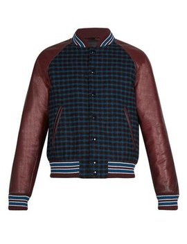 Leather Sleeve Checked Wool Bomber Jacket by Prada