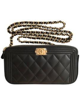 Clutch Boy Le On Chain Brushed Gold Hardware Black Calfskin Leather Cross Body Bag by Chanel