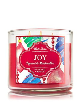"Bath & Body Works Peppermint Marshmallow ""Joy"" White Barn Scented Candle 3 Wick 14.5 Oz / 411 G by Bath & Body Works"