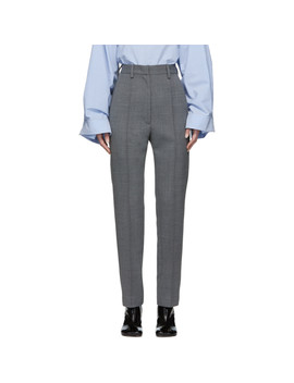 Grey High Waist Trousers by Mm6 Maison Margiela