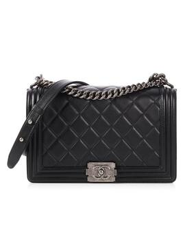 Boy New Medium Quilted Black Calfskin Leather Cross Body Bag by Chanel