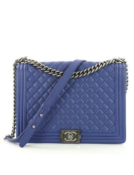 Classic Flap Boy Quilted Calfskin Large Blue Leather Shoulder Bag by Chanel
