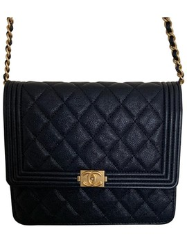 Wallet On Chain Boy Navy Leather Cross Body Bag by Chanel