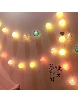 Girly Heart   Cotton Ball String Lights Hanging Decoration by Girly Heart