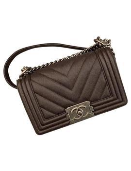 Boy Small Chevron Caviar Flap Brown Cross Body Bag by Chanel
