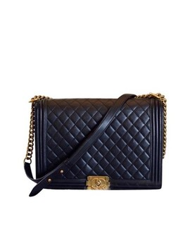 Boy Quilted Large Flap Black Lambskin Leather Shoulder Bag by Chanel