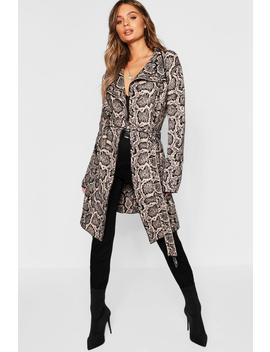 Snake Print Belted Cardigan by Boohoo