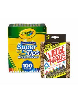 Crayola 58 6565 100 Count Super Tips Washable Markers With 12 Count, Adult Coloring, Stocking Stuffers, Gift by Crayola