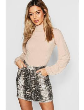 Petite Turtle Neck Volume Sleeve Rib Top by Boohoo