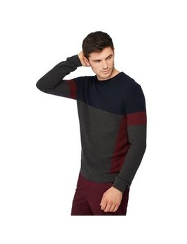 Racing Green   Grey Striped Panel Jumper by Racing Green