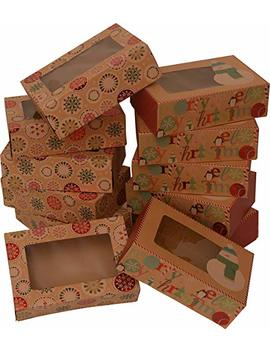 """Christmas Doughnut And Cookie Gift Boxes; Rectangle With Clear Window; Brown Kraft With Hot Stamp Christmas Designs; 6 Of Each Print; Set Of 12 Boxes (8.6"""" X 6"""" X 3.75"""") by Kraft King"""