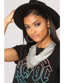 Into The Night Metal Bandana   Silver by Fashion Nova