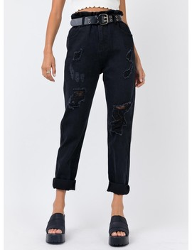 Open Road Paper Bag Jeans Washed Black by Princess Polly