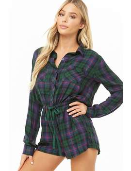 Plaid Pj Romper by Forever 21