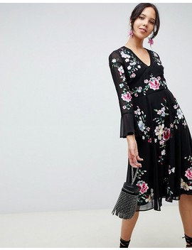 Asos Design Tall Embroidered Midi Dress With Lace Trims by Asos Design