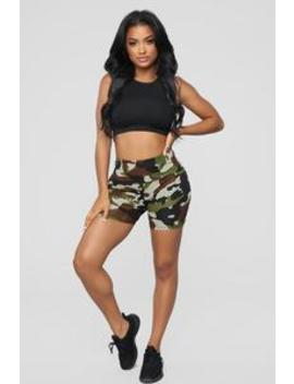 Moving Through The Ranks Active Shorts   Olive Camo by Fashion Nova