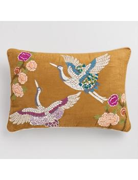 Amber Velvet Embroidered Crane Lumbar Pillow by World Market