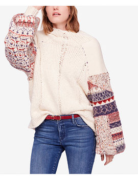 Mixed Material Mended Detail Sweater by Free People