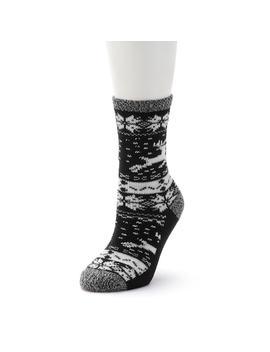 Women's Cuddl Duds Reindeer & Snowflake Fairisle Crew Socks by Kohl's