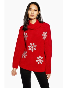 Christmas Glitter Snowflake Jumper by Topshop