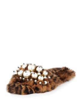 Pearly Fur Slide Sandals, Leopard by Miu Miu