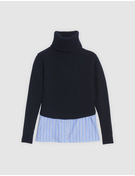 Trompe L'œil Wool Sweater With Roll Neck by Sandro Eshop