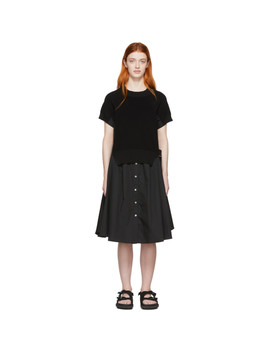 Black Knit Panel Dress by Sacai