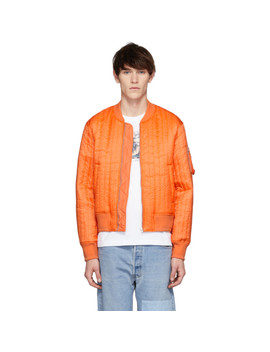 Orange Quilted Nylon Bomber Jacket by Helmut Lang