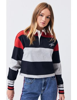 Tommy Jeans Cropped Long Sleeve Polo T Shirt by Pacsun