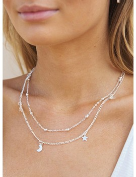 Dainty Star & Moon Necklace Silver by Princess Polly