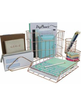 Sorbus Desk Organizer Set, 5 Piece Desk Accessories Set Includes Pencil Cup Holder, Letter Sorter, Letter Tray, Hanging File Organizer, And Sticky Note Holder For Home Or Office (Copper/Rose Gold) by Sorbus