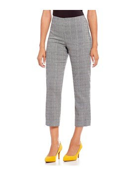 Houston Houndstooth Plaid Coordinating Slim Ankle Pant by Gianni Bini