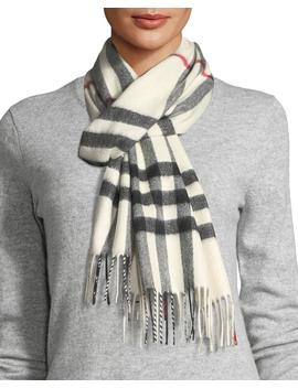 Giant Check Cashmere Scarf, White by Neiman Marcus