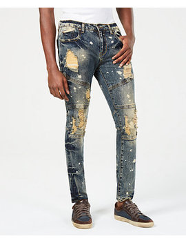 Mens Slim Fit Distressed Jeans by Heritage America