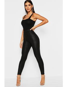 Snake Embossed High Waist Leggings by Boohoo