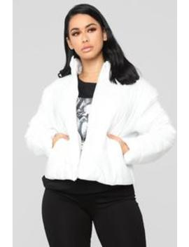 Worst Behavior Puffer Jacket   White by Fashion Nova