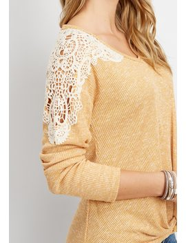 Crocheted Yoke Tie Front Top by Maurices