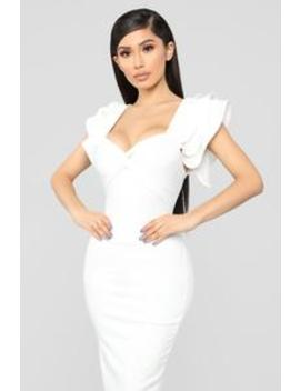 Like What You Do Twist Front Dress   Off White by Fashion Nova