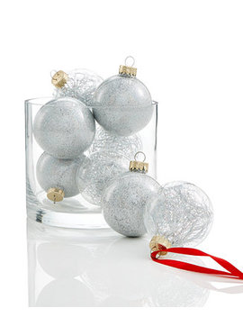8 Pc. Glitter Ornament Set, Created For Macy's by Holiday Lane