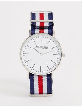 Stratford Ladies Nylon Watch In Red And Navy by Asos Brand
