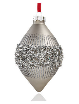 Dark Silver Glitter Drop Ornament, Created For Macy's by Holiday Lane