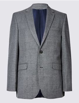 Grey Checked Tailored Fit Jacket by Marks & Spencer